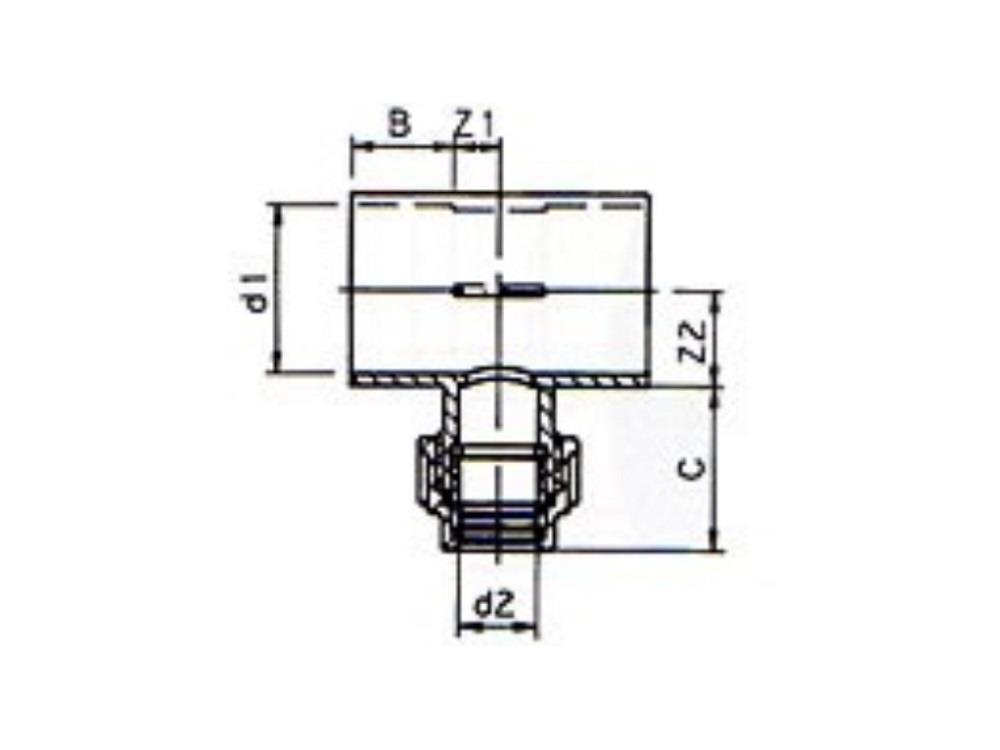Substrat T-Stück PVC 50 x PE 16 x PVC 50 gerade