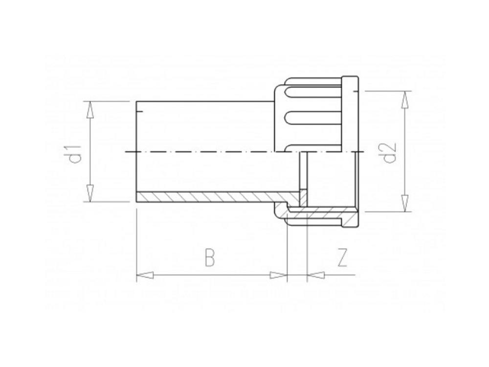 2/3 PVC Kupplung 32mm x 1-1/4