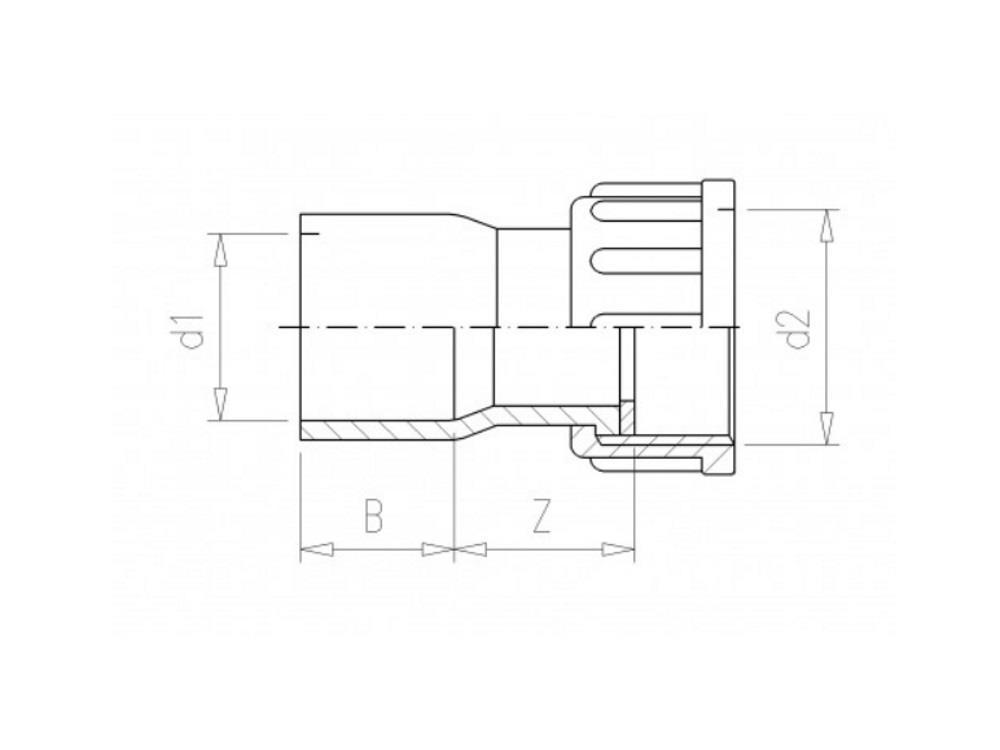2/3 PVC Kupplung 40mm x 1-1/4