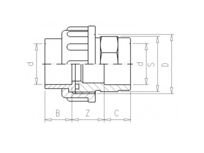 3/3 PVC Kupplung 32 x 32mm 16bar
