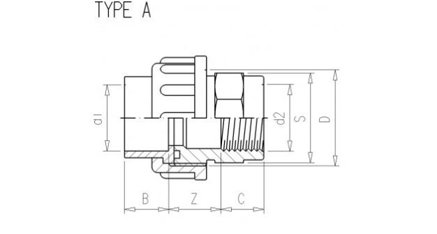 3/3 pvc Kupplung 32 x 1