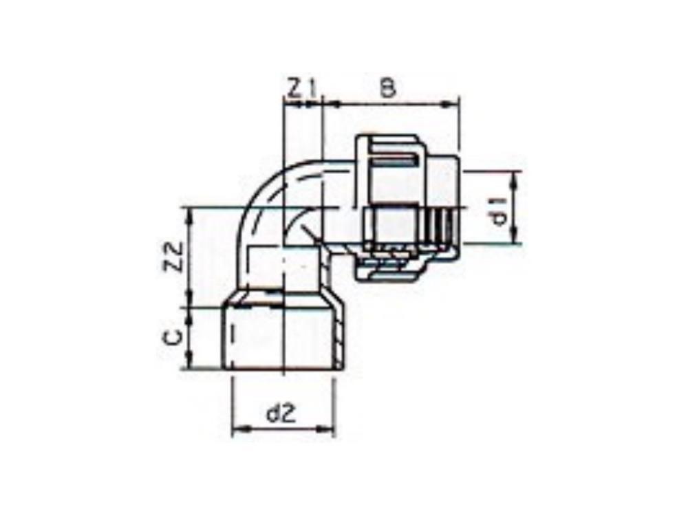 PE Knie Übergang Ø20 x 25mm 90