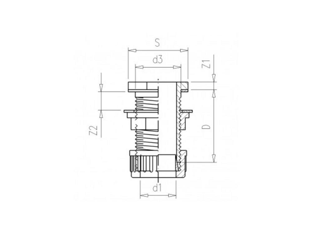 PVC Durchführung 20mm x 3/4
