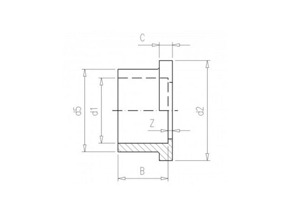 Kragenbuchse 40 pvc rand 60x 8mm