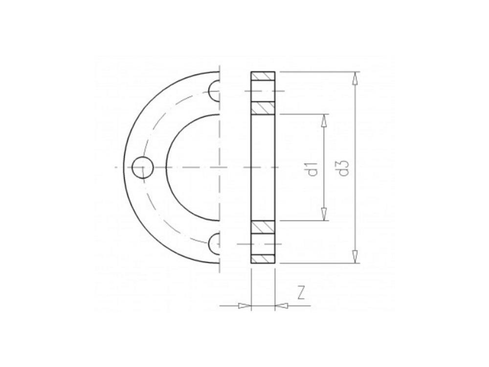 Flansch 50    pvc Stich  105 d16    4x18