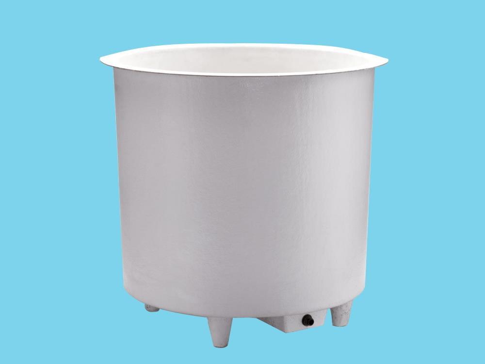 Polyesterbehälter 1200L rund Ø140x93cm hoch + Füßen&Ablauf