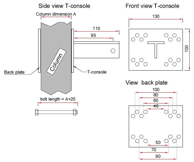 T-Konsole für Stutz 70 mm - Komplettset