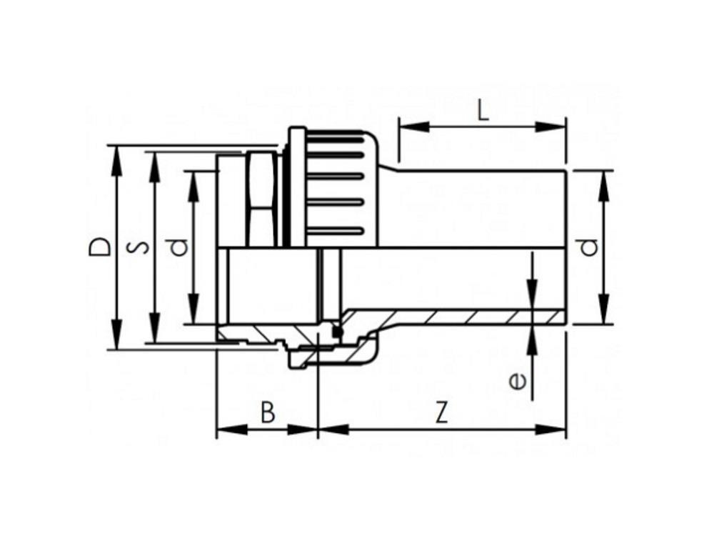 Verschraubung pvc-pe 63mm - sdr11