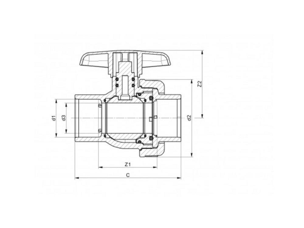 Pvc kugelhahn type: eil 63x63 dn50
