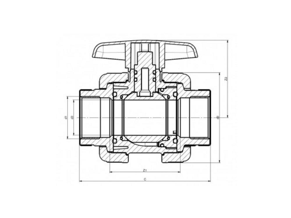 Pvc kugelhahn type: dil 1 1/4 x 1 1/4 dn32