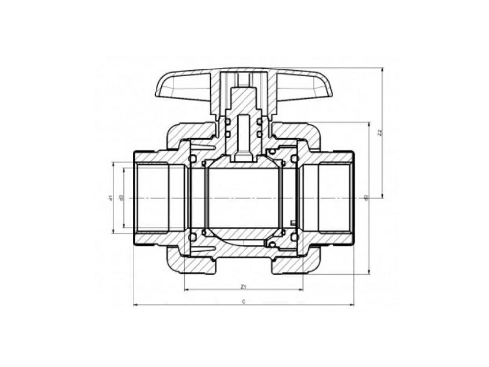 Pvc kugelhahn type: dil 2 x 2 dn50