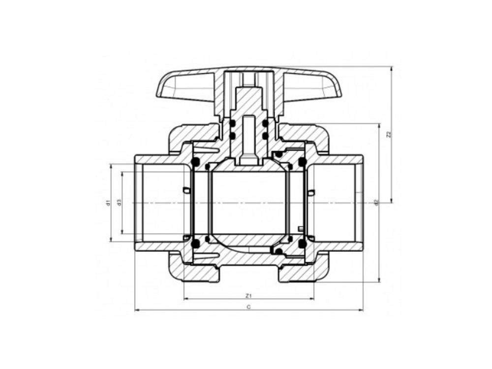 Pvc kugelhahn type: dil 75 x 75 viton® dn65