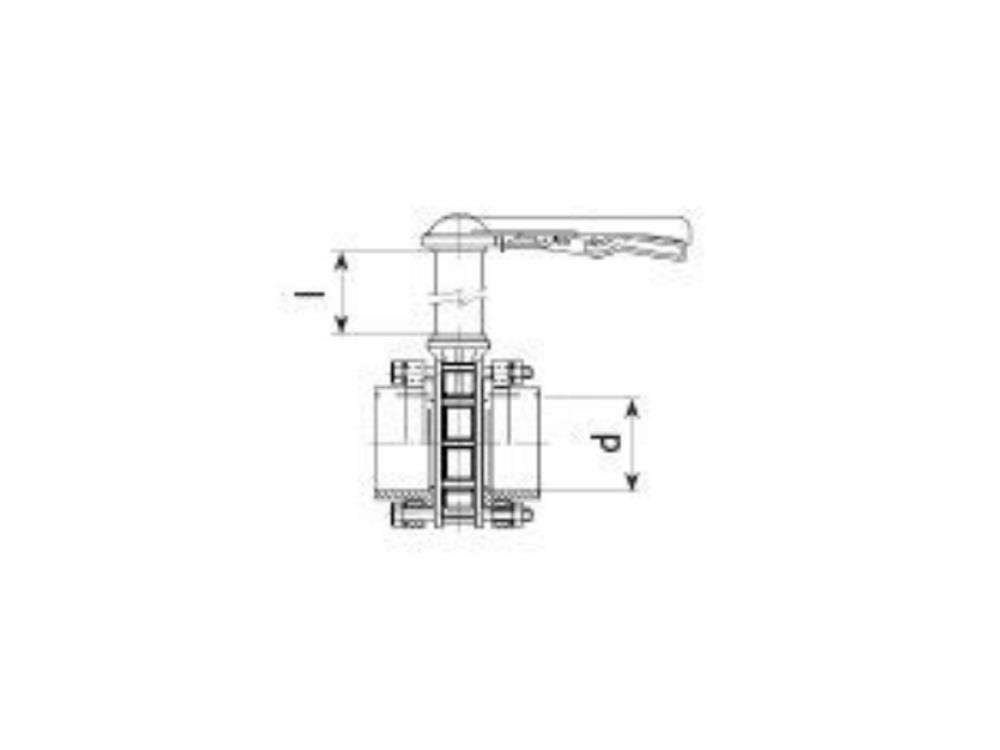Absperrklappe dn65 + kit 75 x 75 + 1000mm