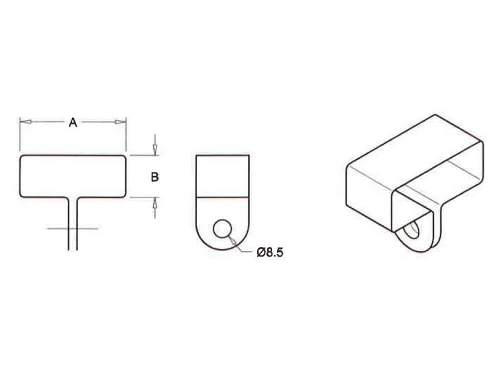 Gitterbindenbügel 60 x 30 mm, zentrisch, galvanisiert, Karto